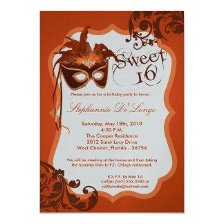 5x7 Orange Masquerade Mask 16 Birthday Invitation
