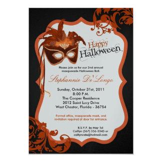 5x7 Orange Masquerade Mask Halloween Invitation