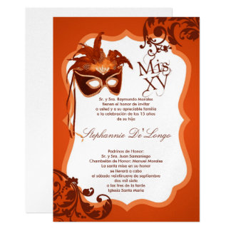 5x7 Orange Masquerade Mask Quinceanera Invitation