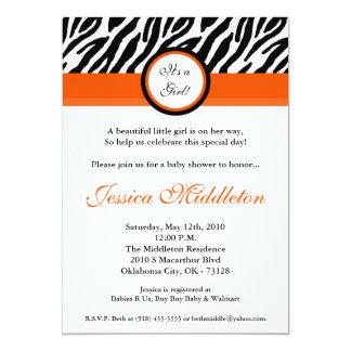 5x7 Orange Zebra Print Baby Shower Invitation