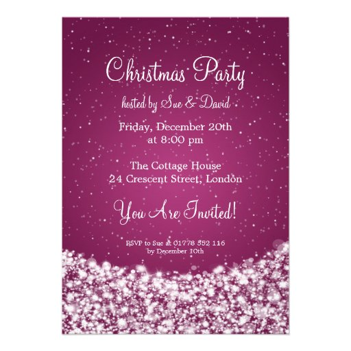 5x7 Party Invitation Elegant Night Sparkle Pink Personalized Announcement