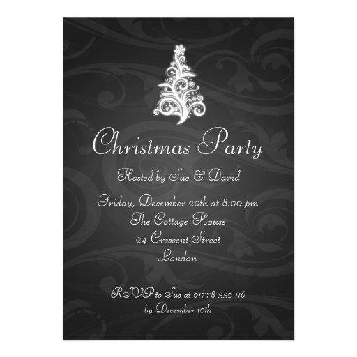 5x7 Party Invitation Elegant Swirly Tree Black Card