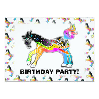 5x7 PARTY or EVENT INVITATIONS, Pop Art HORSE Card