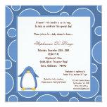 "5x7 Penguin Pok-a-Dot Baby Shower 5.25"" Square Invitation Card"