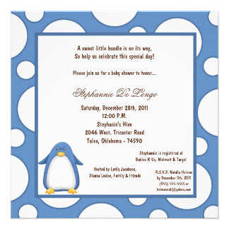 5x7 Penguin Pok-a-Dot Baby Shower Personalized Invitation