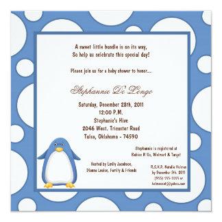 5x7 Penguin Pok-a-Dot Baby Shower Personalized Invitation