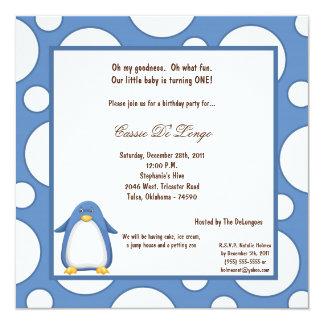 5x7 Penguin Pok-a-Dot Birthday Party Invite