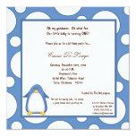"5x7 Penguin Pok-a-Dot Birthday Party Invite 5.25"" Square Invitation Card"