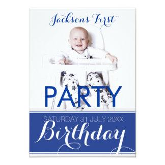 5x7 Photo Baby Boy Birthday Party Invitation