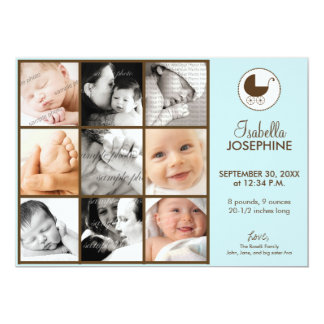 5x7 Photo Collage Blue Baby Birth Announcement