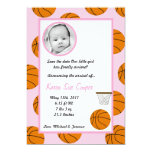 "5x7 PHOTO Sports Basket Ball Birth Announcement 5"" X 7"" Invitation Card"