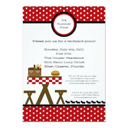 5x7 Picnic Summer Barbecue Party Invitation