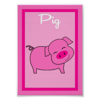 5X7 Pig Barn Yard Girls Wall Art
