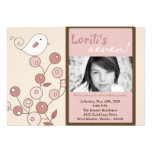 5x7 Pink Bird Photo Birthday Party Invitation