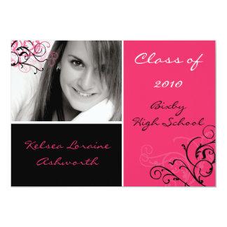 5x7 Pink Black Squar Photo Graduation Invitation