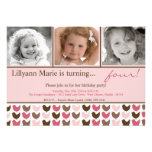 5x7 Pink Brow Bird Photo Birthday Party Invitation
