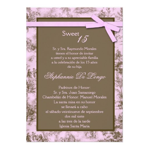 5x7 Pink Brown ToileFabric Quinceanera Invitation