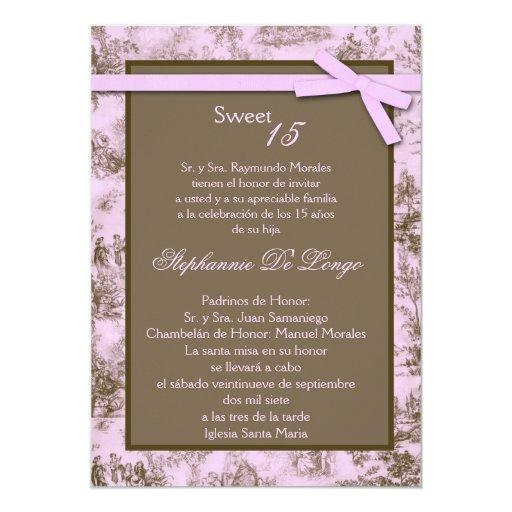 5x7 Pink Brown ToileFabric Quinceanera Invitation