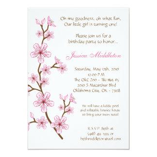 "5x7 Pink Cherry Blossom Birthday Party Invitation 5"" X 7"" Invitation Card"