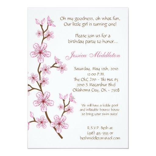 5x7 Pink Cherry Blossom Birthday Party Invitation