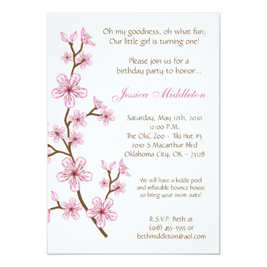 5x7 Pink Cherry Blossom Birthday Party Invitation