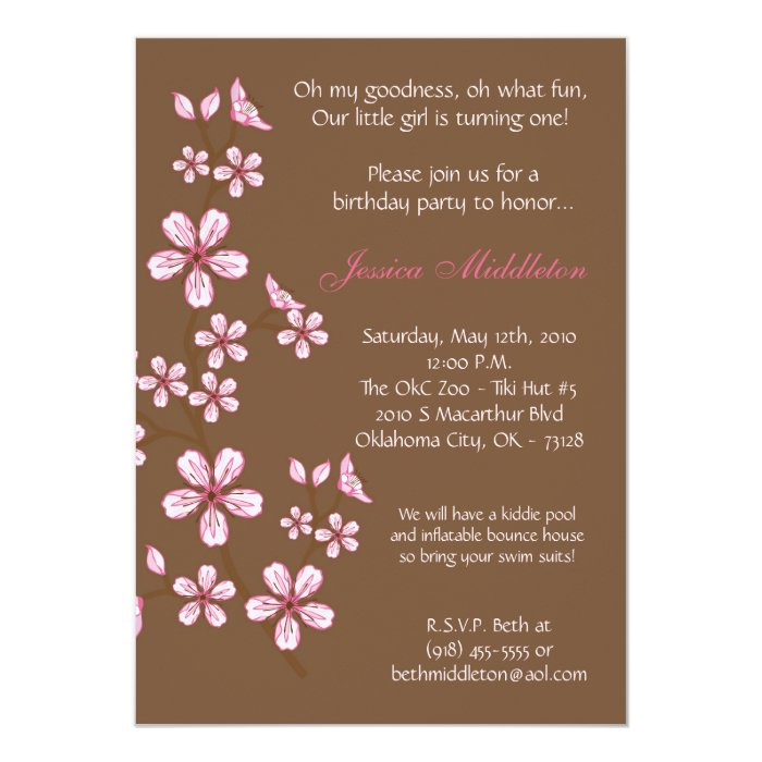 5x7 pink cherry blossom birthday party invitation zazzle. Black Bedroom Furniture Sets. Home Design Ideas