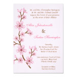 5x7 Pink Cherry Blossom Linen Wedding Invitation