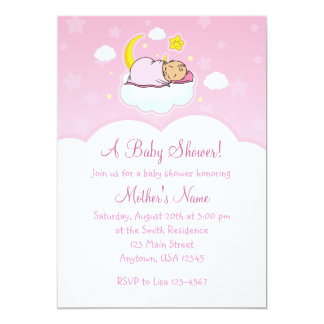 5x7 Pink Cloud Baby Girl Baby Shower Invitations
