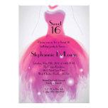 5x7 Pink Dress Sweet 16 Birthday Invitation