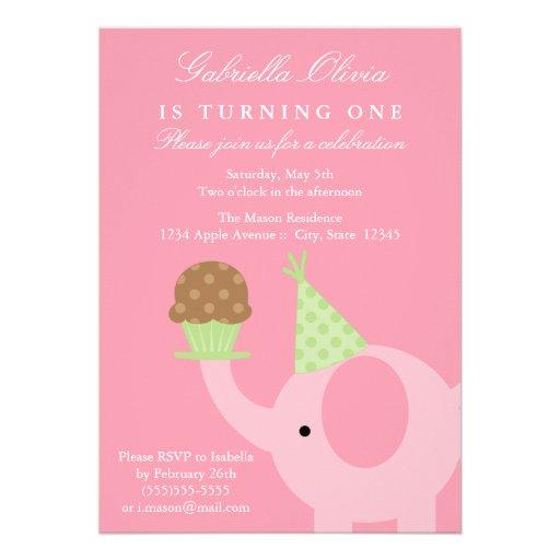 5x7 Pink Elephant Birthday Invitation