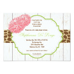 5x7 Pink Flower Cheetah Baby Shower Invitation