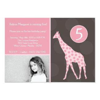 5x7 Pink Giraffe Photo Birthday Party Invitation