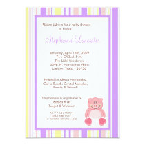 5x7 Pink Girl Pig ZooAnimal Baby Shower Invitation