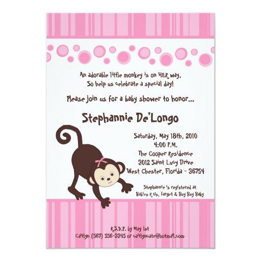 5x7 :Pink Girl Pop Monkey Baby Shower Invitation