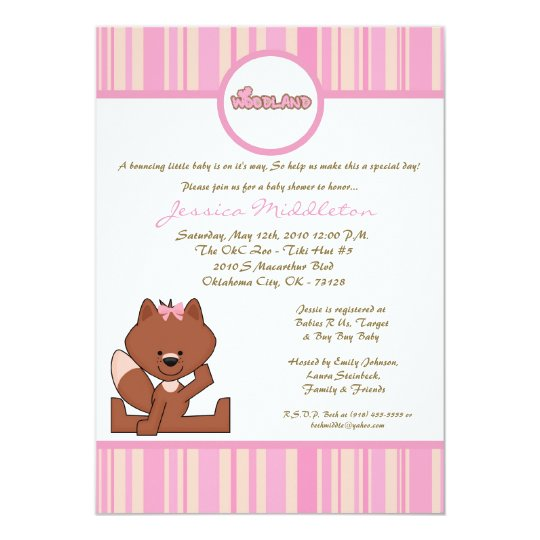 5x7 Pink Girl Woodland Fox Baby Shower Invitation