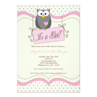 5x7 Pink Hoot Owl Woodland Baby Shower Invitation