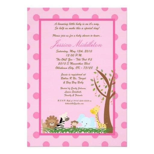 5x7 Pink Jungle Safari Zoo Baby Shower Invitation