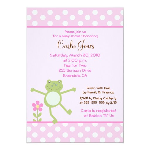 5x7 Pink Leap Frog Girl Baby Shower Invitation