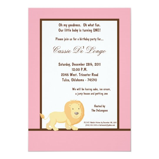 5x7 Pink Lion Birthday Party Invite