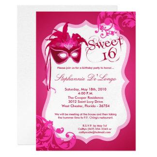 5x7 Pink Masquerade Mask 16 Birthday Invitation