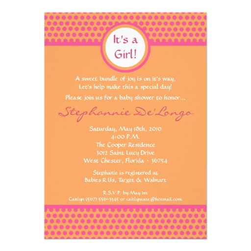 5x7 Pink & Orange Polka Dot Baby Shower Invitation Personalized Announcements