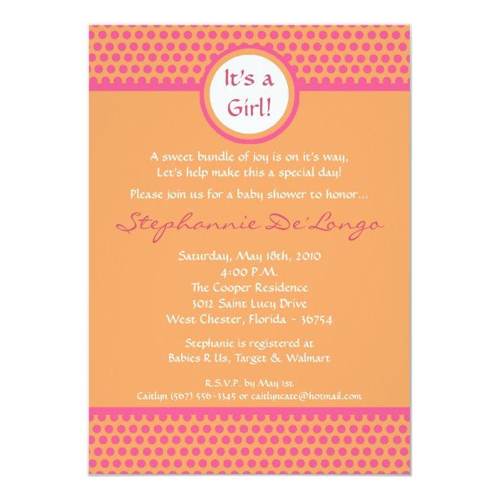 5x7 Pink & Orange Polka Dot Baby Shower Invitation