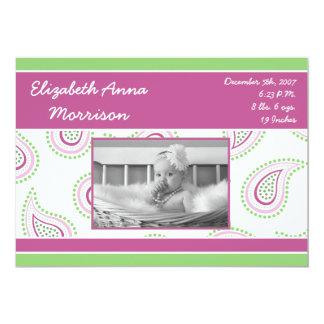 5x7 Pink Paisley Pattern Photo Birth Announcement