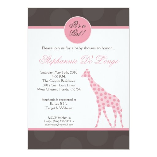 5x7 Pink Polka Dot Giraffe Baby Shower Invitation