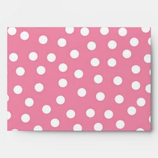 5x7 Pink Polka Dot Outside White Inside Envelope