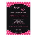5x7 Pink Polkadot Sweet 16 Birthday Invitation