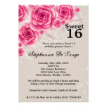 5x7 Pink Roses Floral Sweet 16 Birthday Invitation