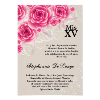 5x7 Pink Roses Quinceanera Birthday Invitation