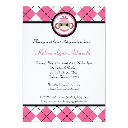 5x7 Pink Sock Monkey Toy Birthhday Part Invitation