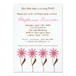 5x7 Pink Spring Flowers Birthday Party Invitation